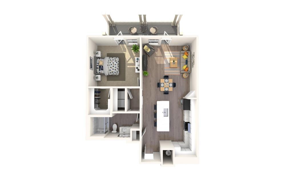 A1 Alt 10 1 Bed 1 Bath Floorplan