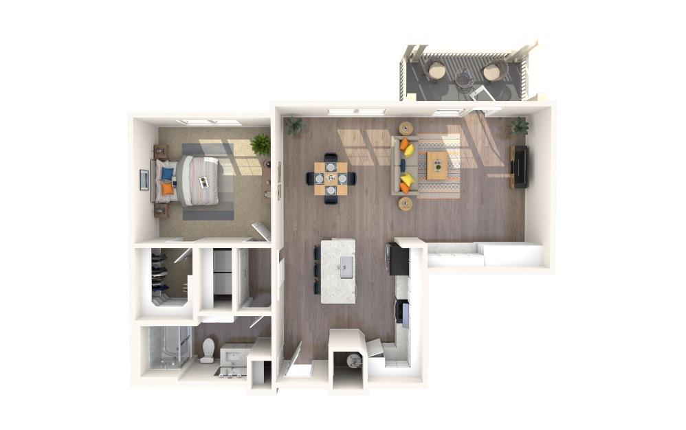 A1-Alt-3 1 Bed 1 Bath Floorplan