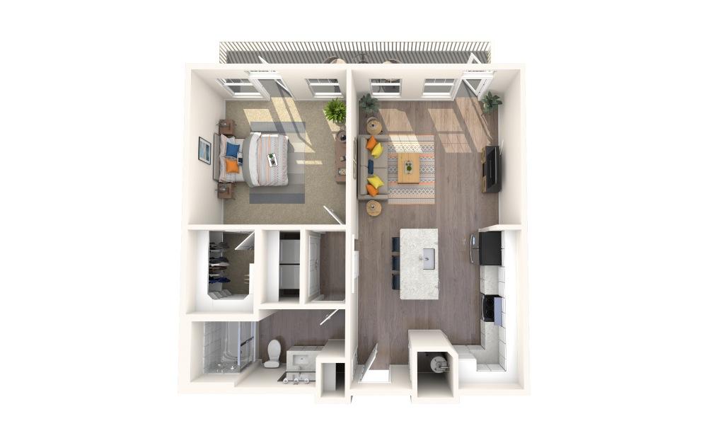 A1-Alt 7 1 Bed 1 Bath Floorplan