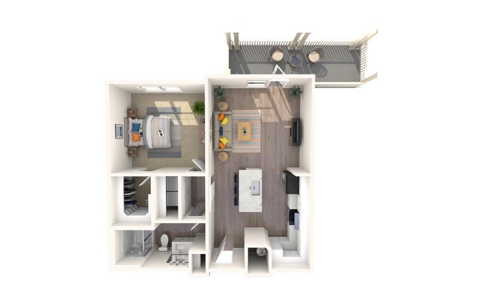 A1-Alt 8 1 Bed 1 Bath Floorplan