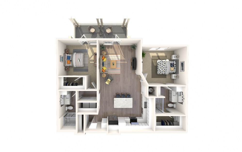 B1 - 2 bedroom floorplan layout with 2 baths and 1362 square feet.