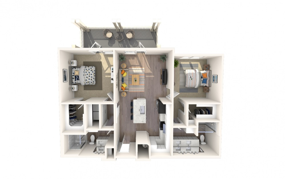 B4 - 2 bedroom floorplan layout with 2 baths and 1257 square feet.