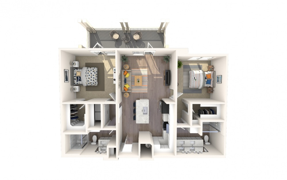 B4a2 - 2 bedroom floorplan layout with 2 baths and 1267 square feet.