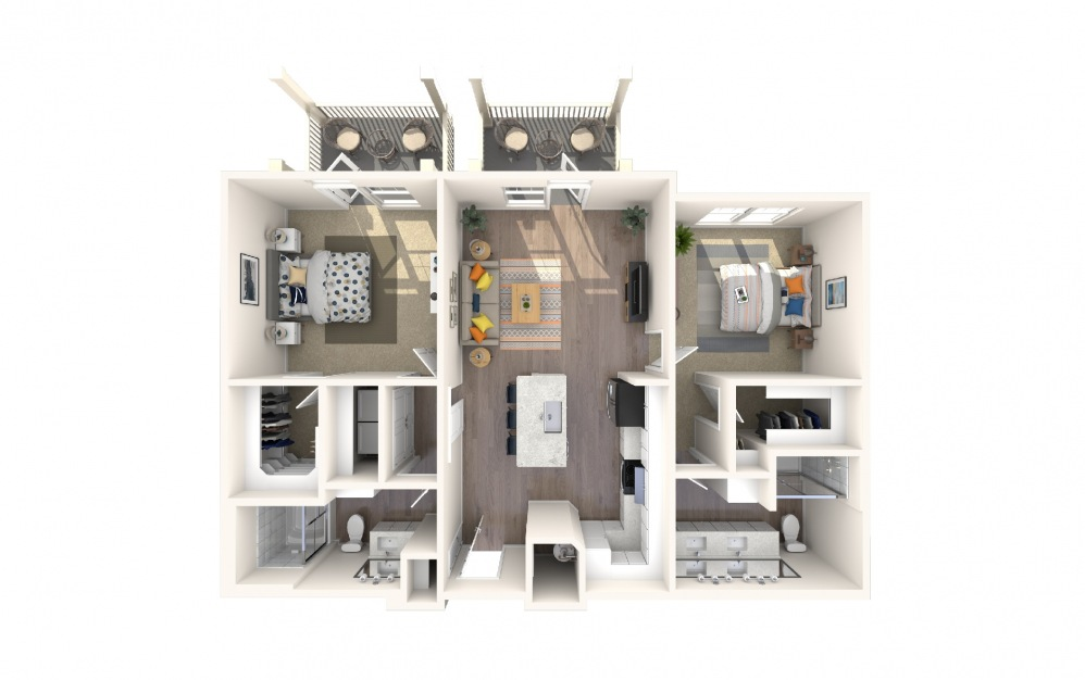 B4a3 - 2 bedroom floorplan layout with 2 baths and 1249 square feet.