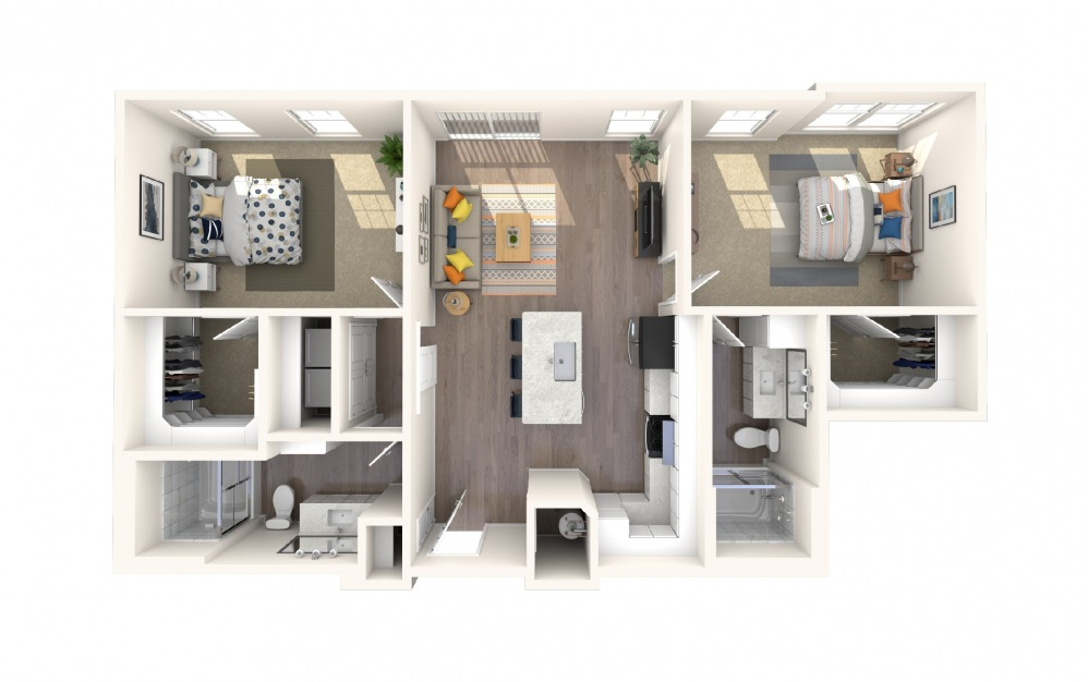 B4a4 - 2 bedroom floorplan layout with 2 baths and 1106 square feet.
