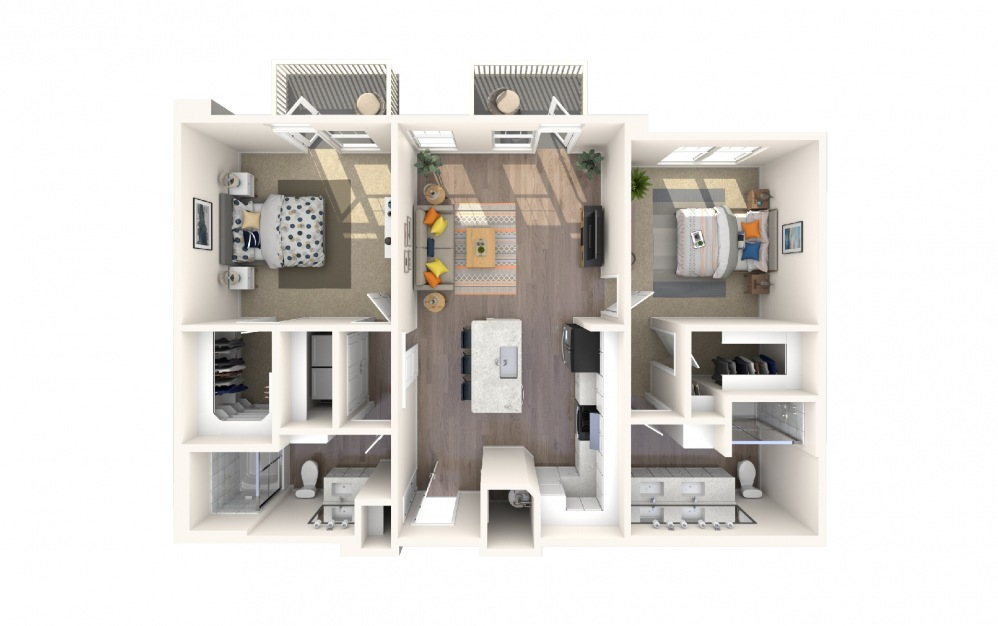 B4a5 - 2 bedroom floorplan layout with 2 baths and 1197 square feet.