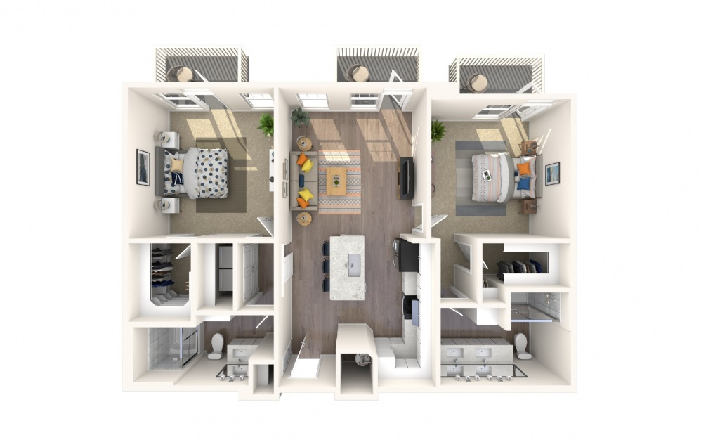 B4a6 - 2 bedroom floorplan layout with 2 baths and 1277 square feet.