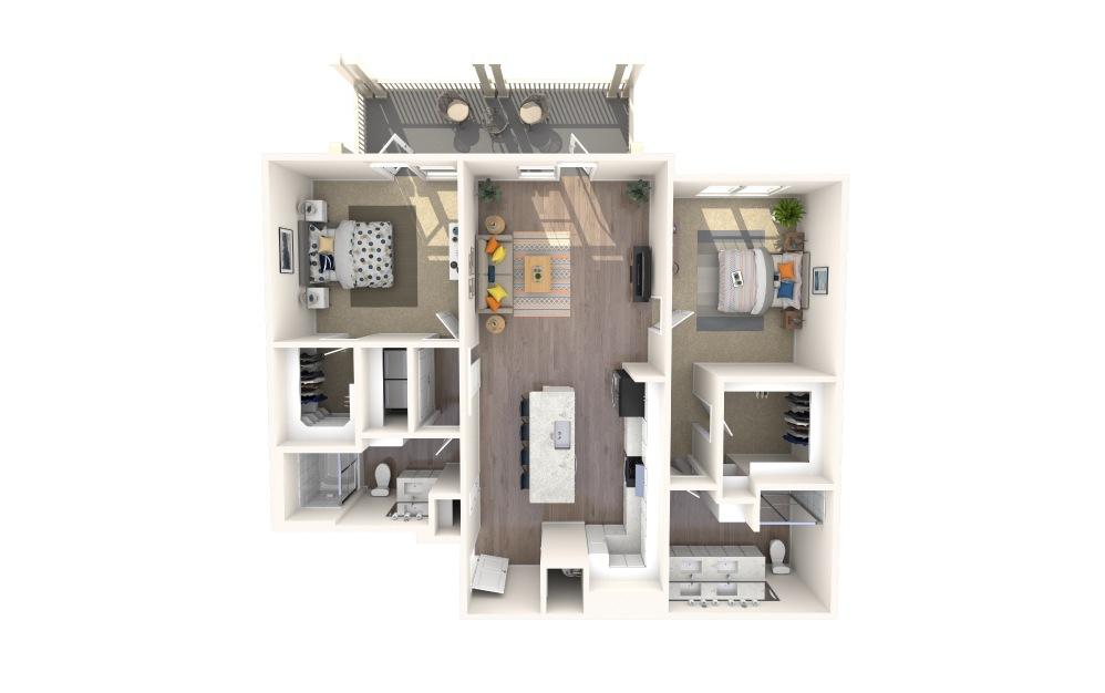 B4 Alt 9 2 Bed 12 Bath Floorplan