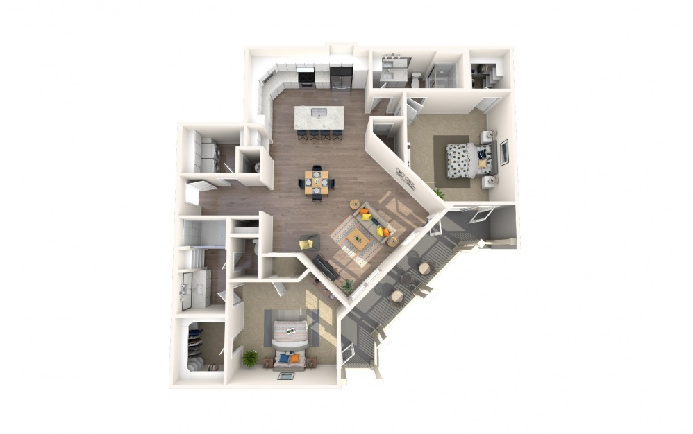 B5 - 2 bedroom floorplan layout with 2 baths and 1787 square feet.