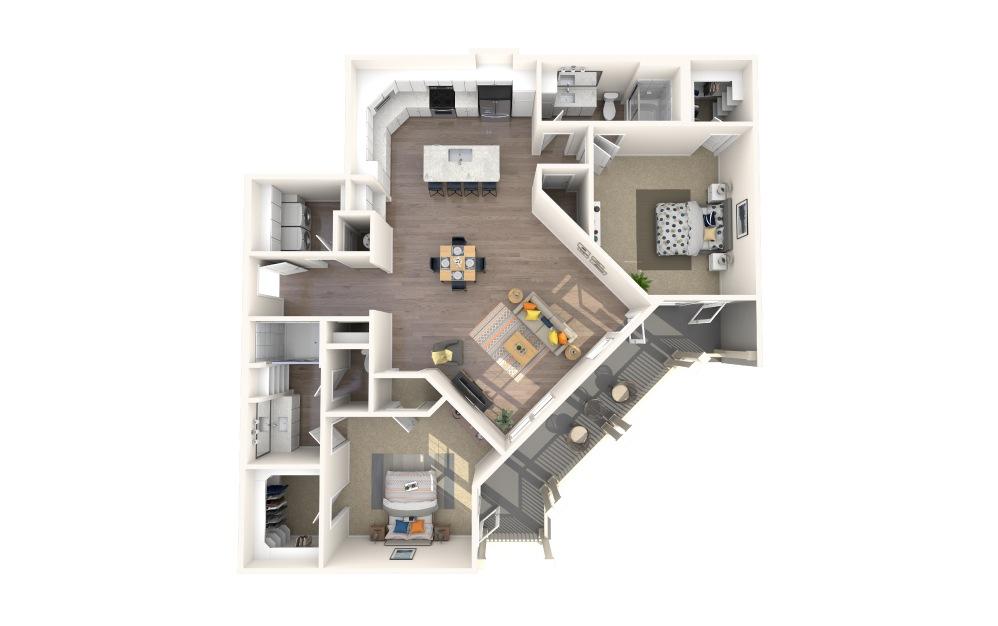 B5 Alt 1 2 Bed 2 Bath Floorplan