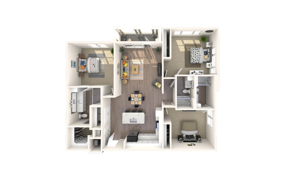 C2 - 3 bedroom floorplan layout with 3 baths and 1821 square feet.