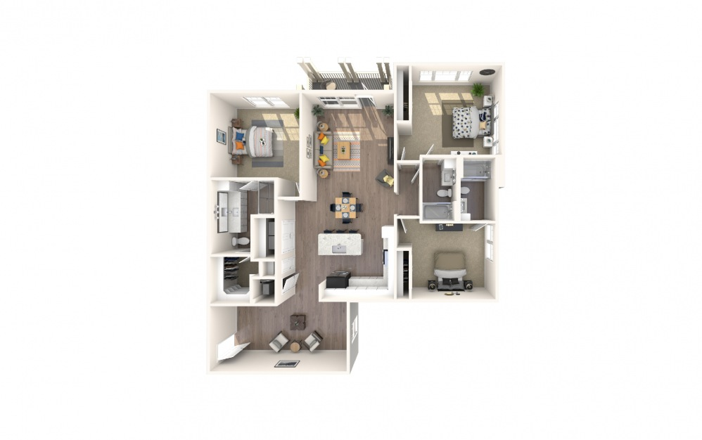 C1-HC - 3 bedroom floorplan layout with 3 baths and 1609 square feet.