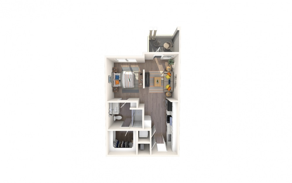 S1 - Studio floorplan layout with 1 bath and 621 square feet.