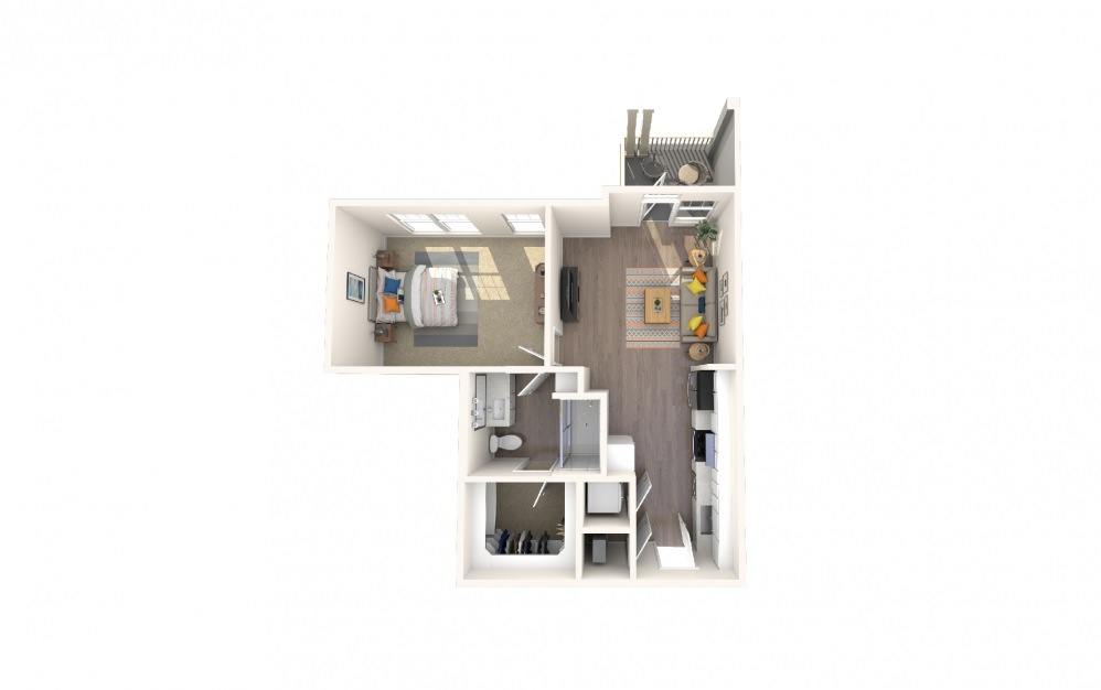 S1a1 - 1 bedroom floorplan layout with 1 bath and 742 square feet.