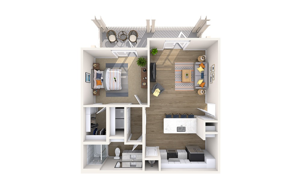 A3A - Boulevard - 1 bedroom floorplan layout with 1 bath and 784 square feet.