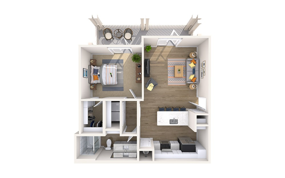 A3B - Boulevard - 1 bedroom floorplan layout with 1 bath and 790 square feet.