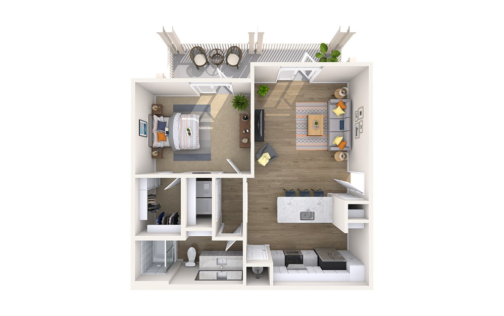 A3C - Boulevard - 1 bedroom floorplan layout with 1 bath and 803 square feet.