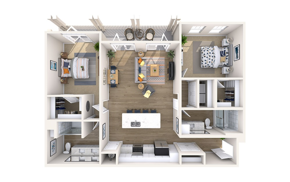 B3B - Monument - 2 bedroom floorplan layout with 2 baths and 1244 square feet.