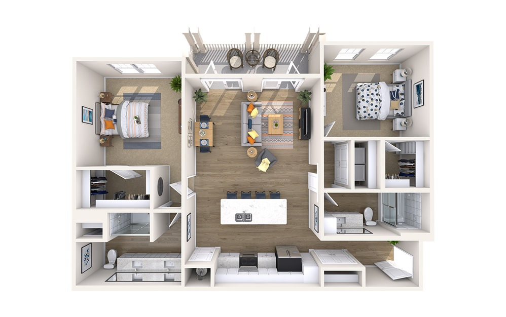 B3C - Monument - 2 bedroom floorplan layout with 2 baths and 1302 square feet.