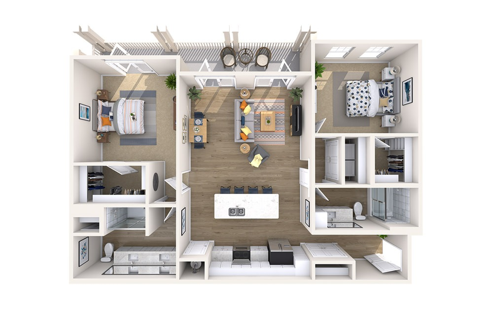 B3D - Monument - 2 bedroom floorplan layout with 2 baths and 1302 square feet.
