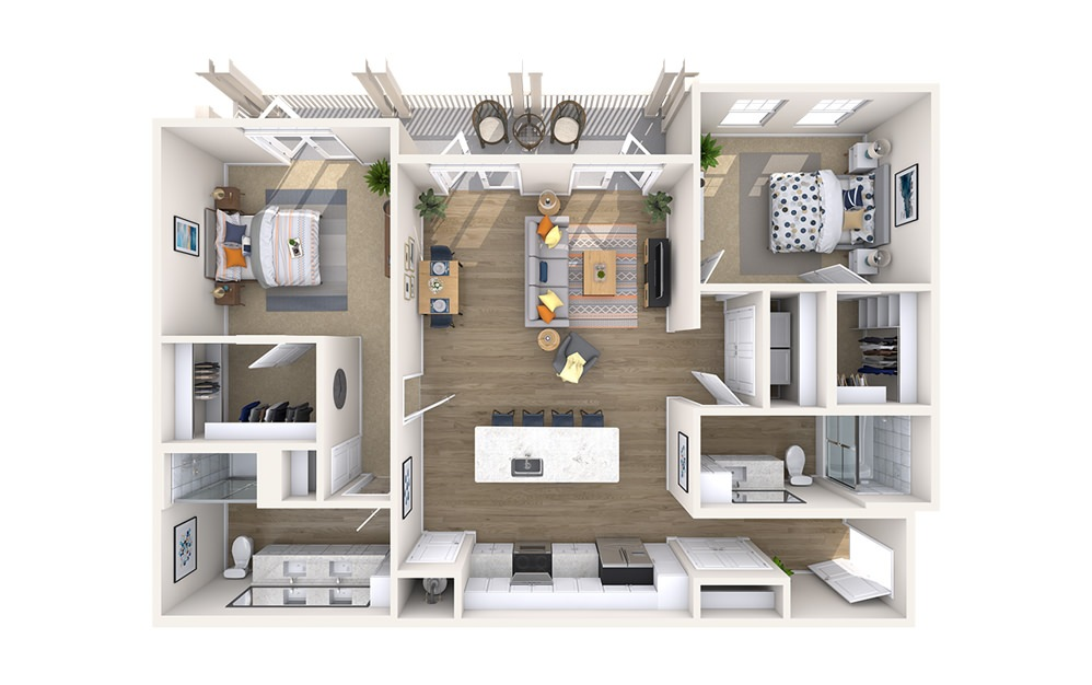 B3D-A - Monument - 2 bedroom floorplan layout with 2 baths and 1302 square feet.